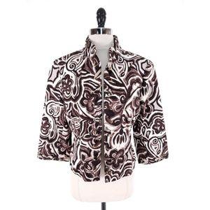 St John Saks Fifth Lace Up Trim Floral Jacket